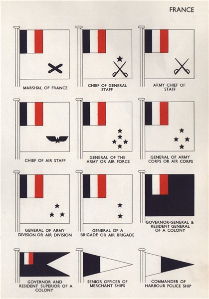Associate Product FRANCE FLAGS Marshal Chief of Staff Army Chief of Staff Governor-General 1958