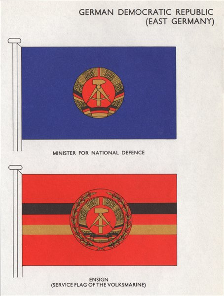 Associate Product GDR (EAST GERMANY) FLAGS. National Defence Minister. Ensign  1958 old print