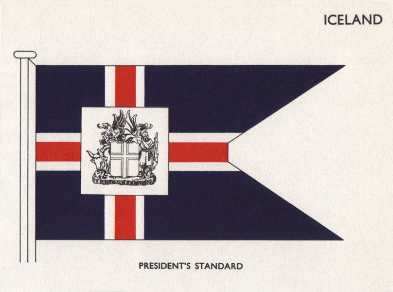 Associate Product ICELAND FLAGS. President's standard 1958 old vintage print picture