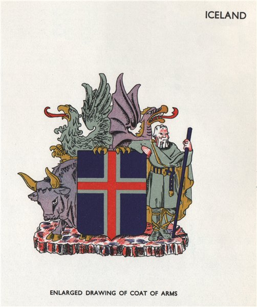 ICELAND FLAGS. Coat of Arms 1958 old vintage print picture
