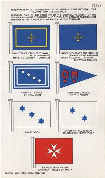 Associate Product ITALY FLAGS. Minister of Defence Chief. Ambassador. Malta Grandmaster 1958