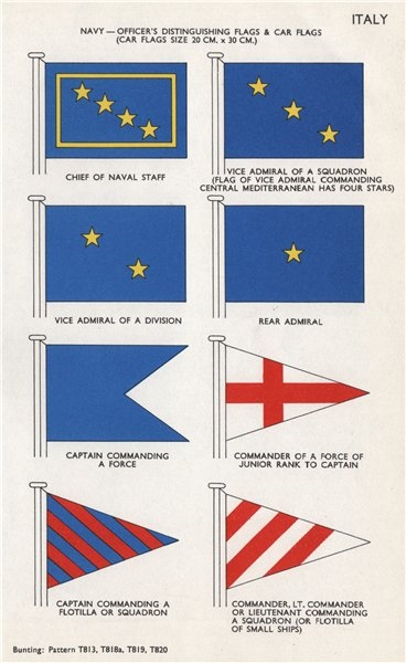 Associate Product ITALY NAVY OFFICERS FLAGS. Chief of Naval Staff. Vice Admiral. Commander 1958