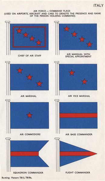 Associate Product ITALY AIR FORCE COMMAND FLAGS. Chief of Air Staff. Air Marshal/Commodore 1958