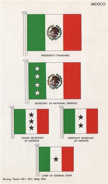 Associate Product MEXICO FLAGS. President's Standard. Secretary of National Defence 1958 print