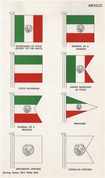 Associate Product MEXICO FLAGS. Secretary of State. General of a Division. State Governor 1958