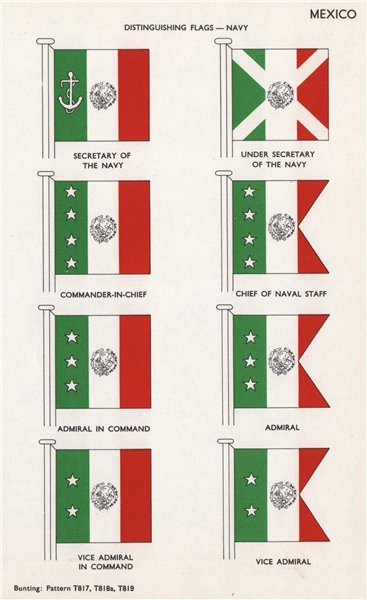 Associate Product MEXICO NAVY FLAGS. Secretary of Navy. C-in-C. Chief of Naval Staff. Admiral 1958