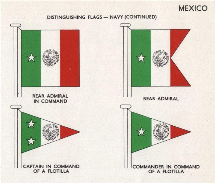 MEXICO NAVY FLAGS. Rear Admiral. Captain/Commander of a Flotilla 1958 print