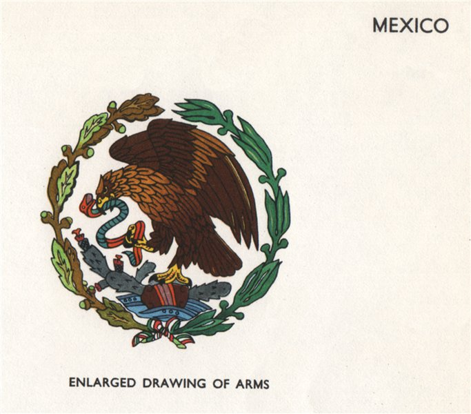 Associate Product MEXICO FLAGS. Arms 1958 old vintage print picture
