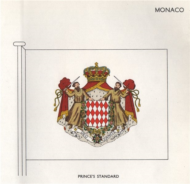 Associate Product MONACO FLAGS. Prince's Standard 1958 old vintage print picture