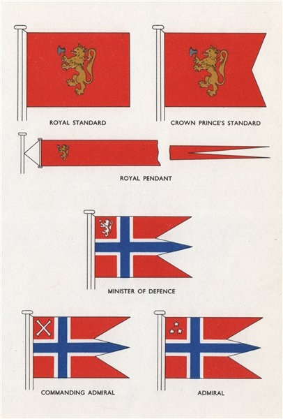 Associate Product NORWAY FLAGS. Royal/Crown Prince Standard/Pendant Defence Minister Admiral 1958