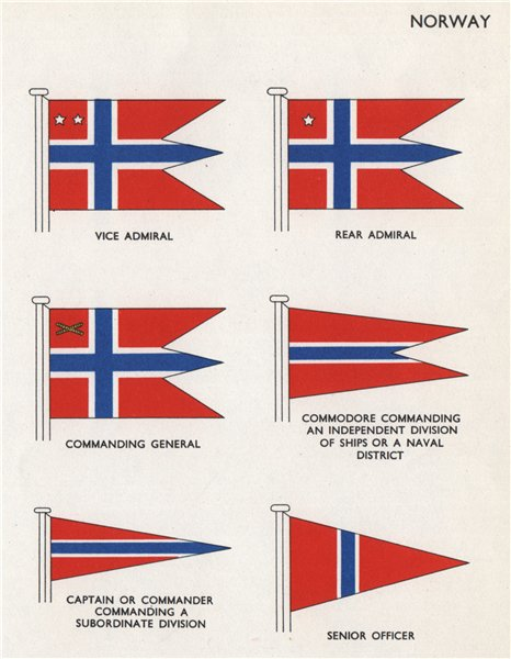 Associate Product NORWAY FLAGS. Admiral Commanding General Commodore Captain Senior Officer 1958