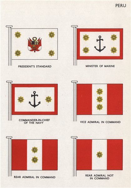 Associate Product PERU FLAGS. President's Standard. Minister of Marine. Navy C-in-C. Admiral 1958