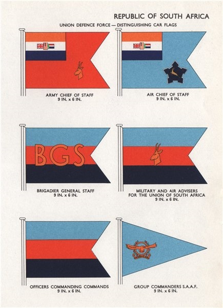 Associate Product SOUTH AFRICA DEFENCE FORCE CAR FLAGS. Army/Air Chief of Staff. Advisers 1958