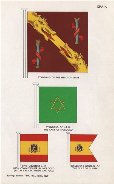 Associate Product SPAIN STANDARDS/FLAGS Head of State. HRH Calif of Morocco High Commissioner 1958