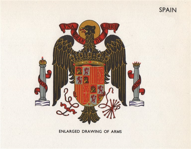 Associate Product SPAIN FLAGS. Arms 1958 old vintage print picture