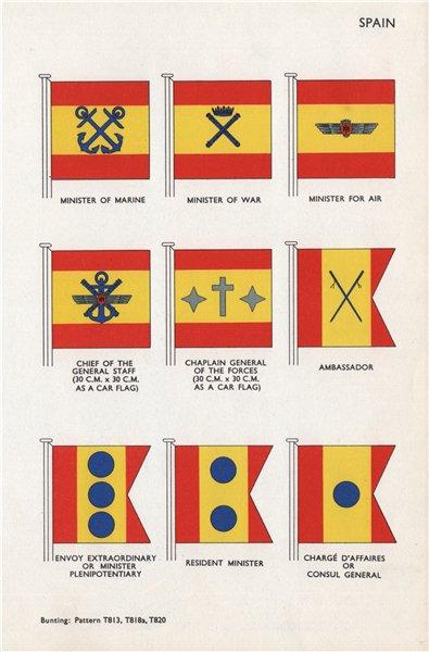Associate Product SPAIN FLAGS. Minister of Marine War Air. Ambassador Envoy Chaplain Minister 1958