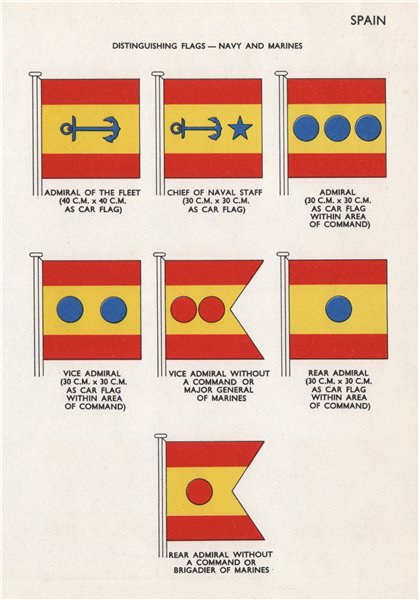 Associate Product SPAIN NAVY & MARINES FLAGS. Admiral of Fleet. Chief of Naval Staff. Admiral 1958