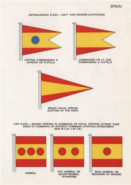 Associate Product SPAIN NAVY & MARINES FLAGS. Captain Commander Senior Naval Officer Admiral 1958