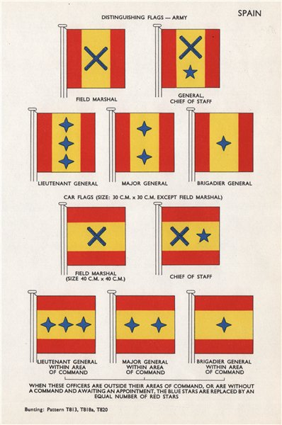 Associate Product SPAIN ARMY CAR FLAGS Field Marshal Chief of Staff Lieut/Major/Brig-General 1958