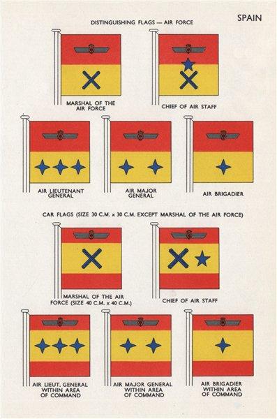 Associate Product SPAIN AIR FORCE CAR FLAGS. Marshal. Air Lieut-/Major-General. Air Brigadier 1958
