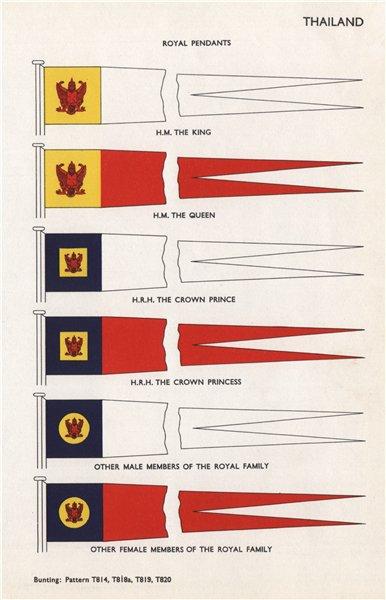 Associate Product THAILAND ROYAL FAMILY PENDANTS. HM King/Queen. HRH Crown Prince/Princess 1958