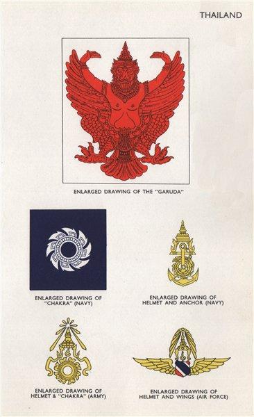 Associate Product THAILAND FLAGS. Garuda. Chakra. Helmet & Anchor. Navy Army 1958 old print