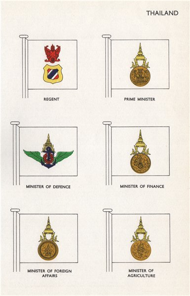 Associate Product THAILAND FLAGS. Regent Prime Minister Defence Finance Foreign Agriculture 1958