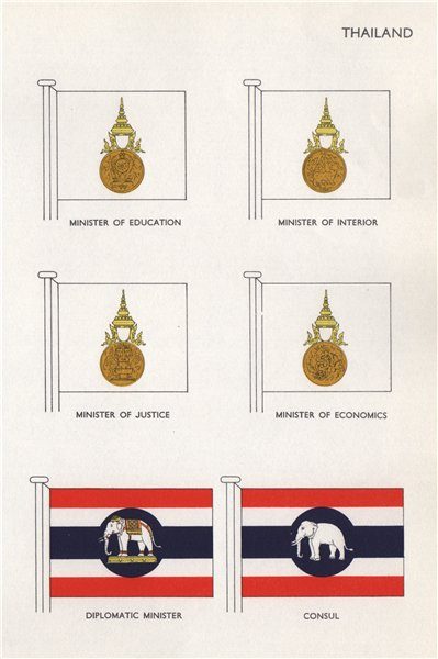 Associate Product THAILAND FLAGS. Diplomatic Minister of Education Interior Justice Consul 1958
