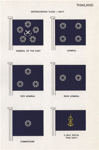 Associate Product THAILAND NAVY FLAGS. Admiral. Commodore. Commander. Royal Thai Navy 1958 print