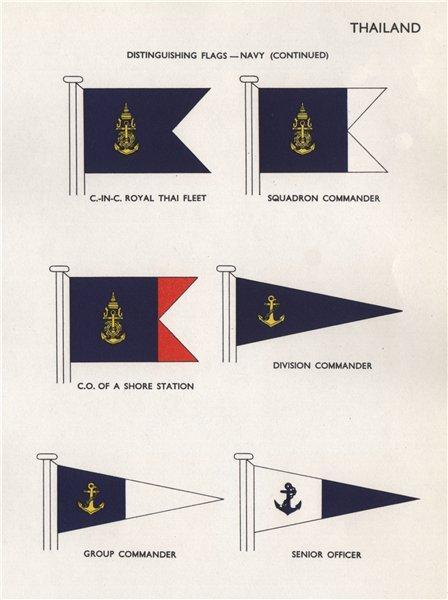 Associate Product THAILAND NAVY FLAGS. Commander Royal Thai Fleet. Senior officer 1958 old print