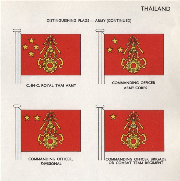 Associate Product THAILAND ARMY FLAGS. Royal Thai Army. Commanding Officer. Army Corps 1958