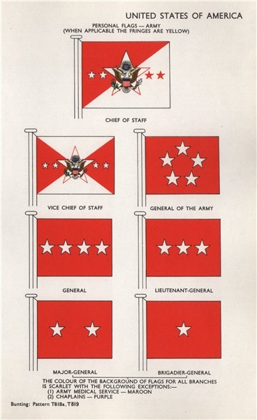 Associate Product USA ARMY FLAGS. Chief of Staff. General of the Army. General &c 1958 old print