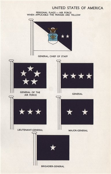 Associate Product USA AIR FORCE FLAGS. General, Chief of Staff. General of the Air Force &c 1958