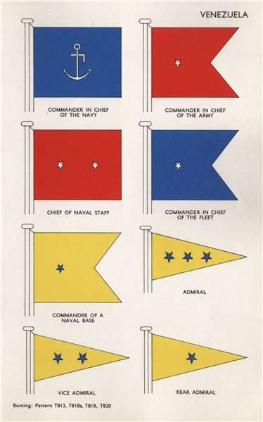Associate Product VENEZUELA NAVY FLAGS. Commander in Chief. Admiral. Army 1958 old vintage print