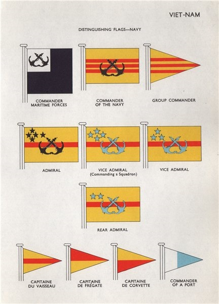 Associate Product VIETNAM NAVY FLAGS. Commander Maritime Forces. Vice/Rear Admiral. Capitaine 1958