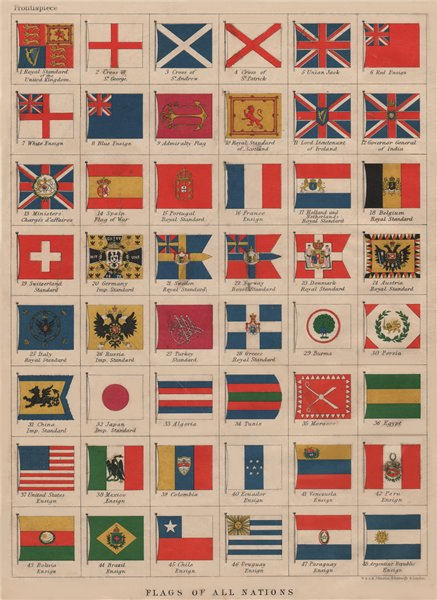 Associate Product NATIONAL FLAGS. Ensigns, Royal & Imperial Standards.  JOHNSTON 1895 old print
