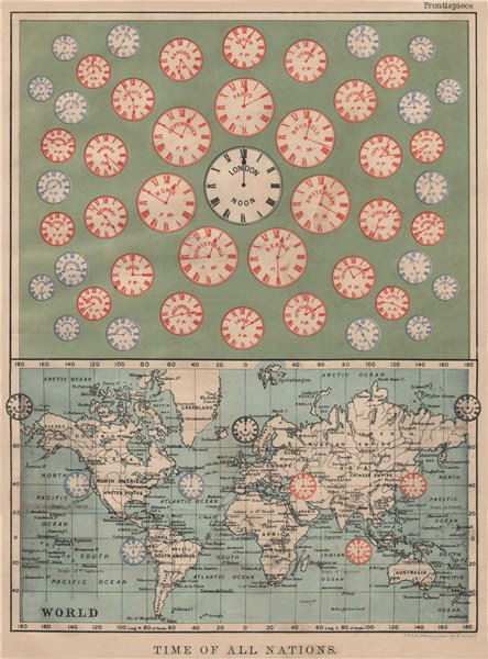 Associate Product TIME OF ALL NATIONS. predates UTC/standard hourly time zones.  JOHNSTON 1895 map