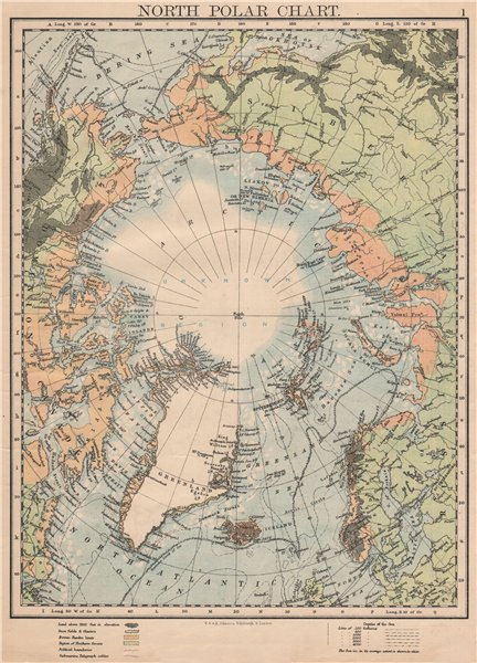 Associate Product NORTH POLAR CHART. Shows explorers' routes. Nansen 1895. JOHNSTON 1895 old map