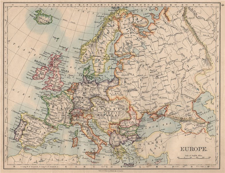 Associate Product EUROPE POLITICAL. Austria-Hungary. United Sweden & Norway. JOHNSTON 1895 map