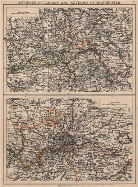 Associate Product LONDON & MANCHESTER. Environs. Lancs Cheshire Middx Surrey JOHNSTON 1895 map