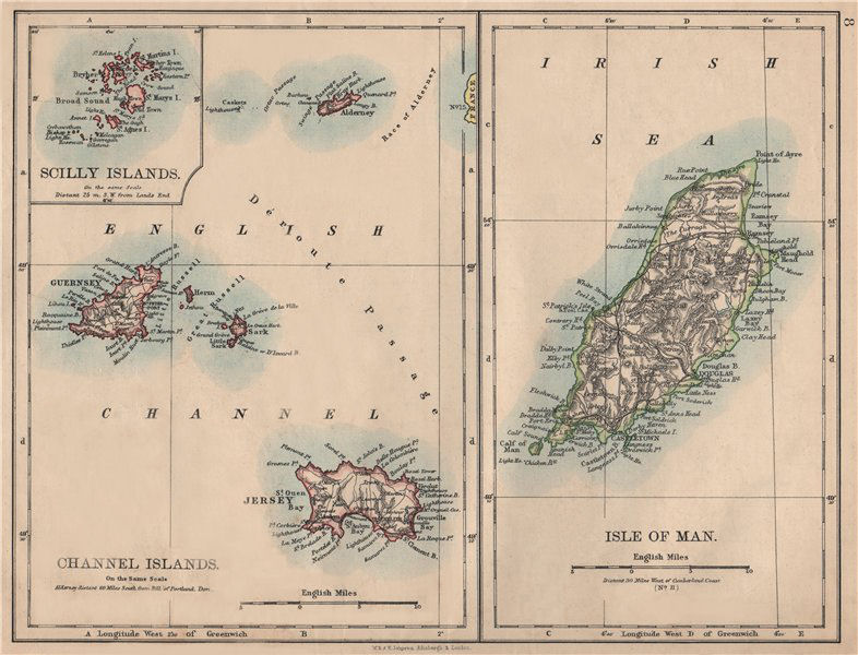 Associate Product BRITISH ISLANDS. Isle of Man Channel Islands Jersey Guernsey.JOHNSTON 1895 map