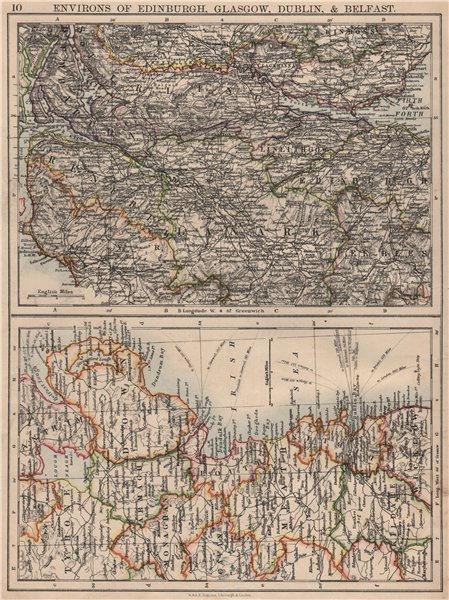 Associate Product SCOTTISH  & IRISH CITIES. Edinburgh Glasgow Dublin Belfast environs 1895 map