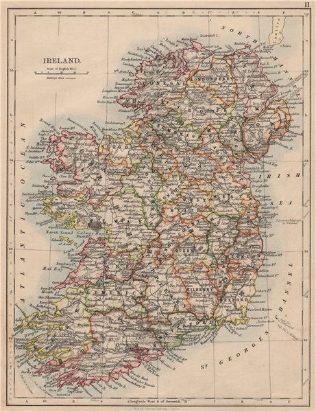Associate Product IRELAND. Showing counties. Undersea telegraph cables.  JOHNSTON 1895 old map