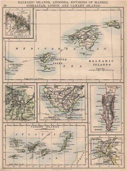 Associate Product IBERIA. Balearics Canaries Gibraltar Andorra Madrid Lisbon. JOHNSTON 1895 map