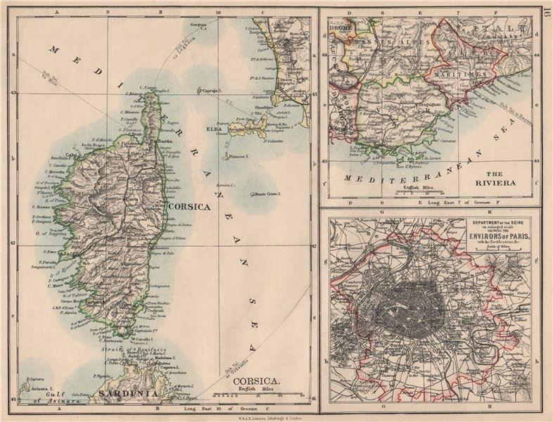 Associate Product FRANCE. Riviera Côte d'Azur Corsica Paris environs. JOHNSTON 1895 old map