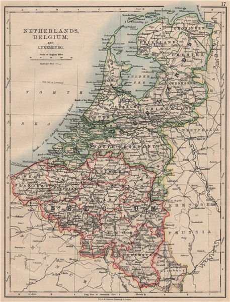 BENELUX.Netherlands Belgium Luxemburg. Holland.  JOHNSTON 1895 old antique map
