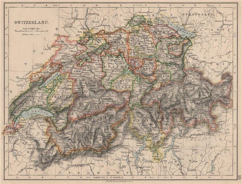 Associate Product SWITZERLAND. Shows cantons & railways. Alps. Italian lakes. JOHNSTON 1895 map
