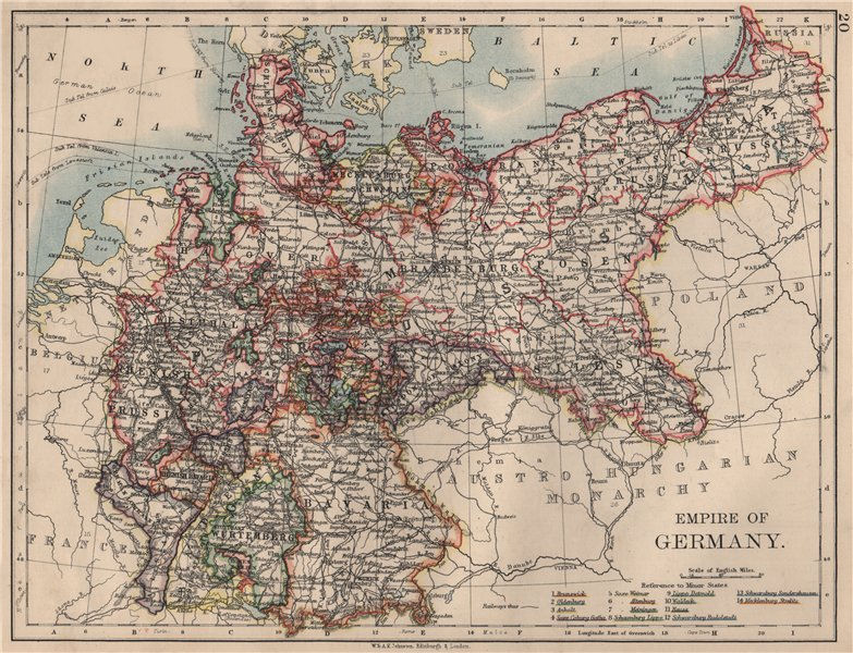 Associate Product EMPIRE OF GERMANY. States. Prussia Bavaria Alsace Lorraine.  JOHNSTON 1895 map