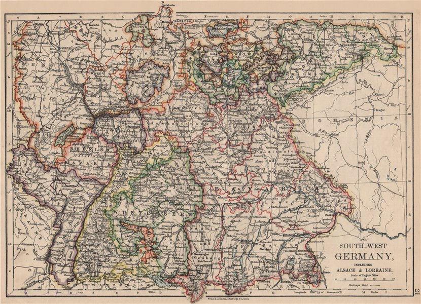 Associate Product SOUTHERN GERMANY. Bavaria Wurtemberg Saxony Alsace German Lorraine 1895 map