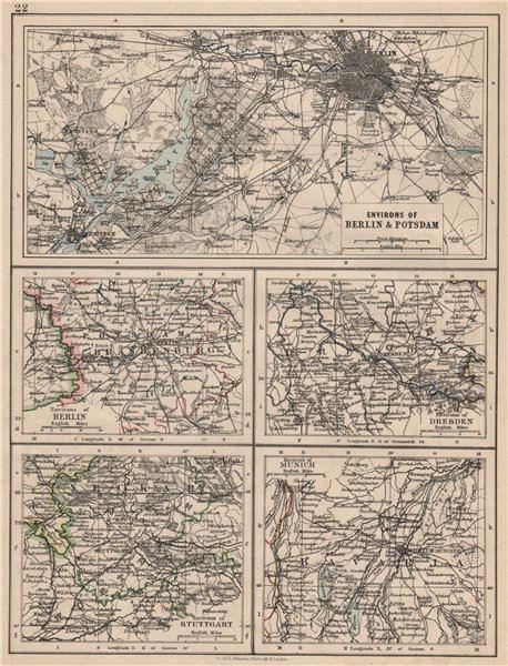 Associate Product GERMANY CITIES Berlin Dresden Stuttgart Munich JOHNSTON 1895 old antique map